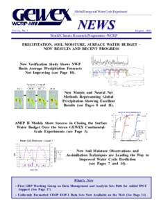 Global Energy and Water Cycle Experiment  Vol. 13, No. 3 NEWS