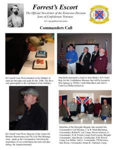 Forrest's Escort The Official Newsletter of the Tennessee Division Sons of Confederate Veterans 2011 Spring/March Newsletter  Commanders Call
