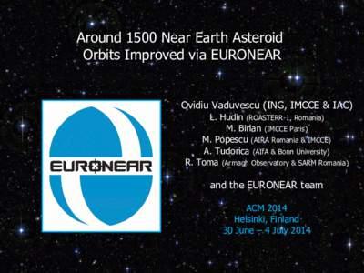 Around 1500 Near Earth Asteroid Orbits Improved via EURONEAR Ovidiu Vaduvescu (ING, IMCCE & IAC) L. Hudin (ROASTERR-1, Romania) M. Birlan (IMCCE Paris)