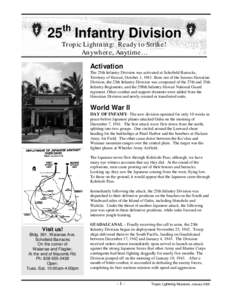 THE 25TH INFANTRY TROPIC LIGHTNING DIVISION