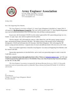 Army Engineer Association P.O. Box 30260, Alexandria, VAphone: fax: www.armyengineer.com  26 May 2016