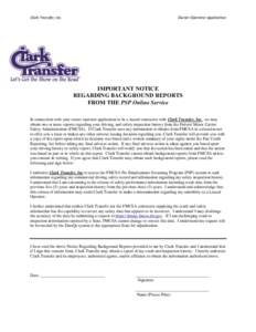 Clark Transfer, Inc.  Owner-Operator Application IMPORTANT NOTICE REGARDING BACKGROUND REPORTS