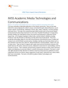 2016 Team Impact Award Nominees  IMSS Academic Media Technologies and  Communications