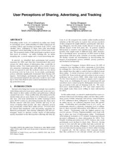 User Perceptions of Sharing, Advertising, and Tracking Sonia Chiasson Farah Chanchary  School of Computer Science