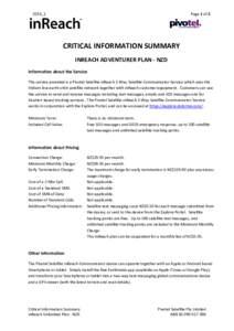 Page 1 of 2  2016_1 CRITICAL INFORMATION SUMMARY INREACH ADVENTURER PLAN - NZD