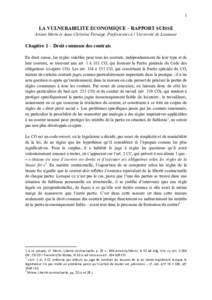 1 LA VULNERABILITE ECONOMIQUE – RAPPORT SUISSE Ariane Morin et Anne Christine Fornage, Professeures à l'Université de Lausanne