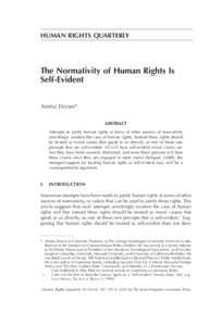 HUMAN RIGHTS QUARTERLY  The Normativity of Human Rights Is Self-Evident Amitai Etzioni* Abstract