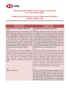 THÔNG BÁO ĐIỀU CHỈNH CÁC ĐIỀU KHOẢN VÀ ĐIỀU KIỆN CỦA THẺ TÍN DỤNG HSBC NOTIFICATION OF CHANGES TO THE TERMS AND CONDITIONS OF HSBC CREDIT CARD  Nội dung hiện tại