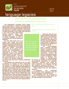 July 2013 volume 17 number 1 language legacies NATIVE VOICES ENDOWMENT