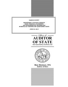 SAMPLE COUNTY INDEPENDENT AUDITOR'S REPORTS BASIC FINANCIAL STATEMENTS AND SUPPLEMENTARY INFORMATION SCHEDULE OF FINDINGS AND QUESTIONED COSTS JUNE 30, 2015