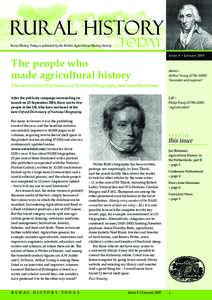 Rural History Today is published by the British Agricultural History Society  The people who made agricultural history  Issue 8 • January 2005