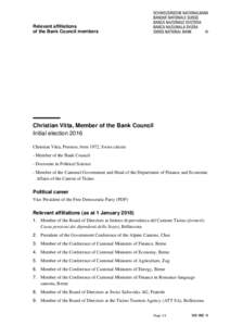 Relevant affiliations of the Bank Council members Christian Vitta, Member of the Bank Council Initial election 2016 Christian Vitta, Preonzo, born 1972, Swiss citizen