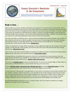 """November[removed]Page One  County Executive's Newsletter to the Commission """"Without continual growth and progress, such words as improvement, achievement, and success have no meaning."""" -- Benjamin Franklin"""