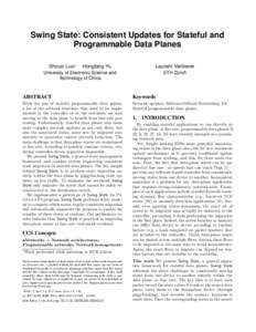 Swing State: Consistent Updates for Stateful and Programmable Data Planes Shouxi Luo∗ Hongfang Yu