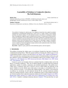 JMLR: Workshop and Conference Proceedings vol 40:1–12, 2015  Learnability of Solutions to Conjunctive Queries: The Full Dichotomy Hubie Chen