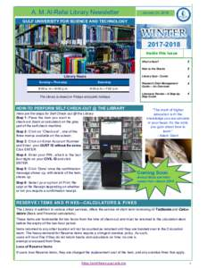 A. M. Al-Refai Library Newsletter  January 24, 2018 GULF UNIVERSITY FOR SCIENCE AND TECHNOLOGY