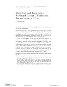 """Short Cuts  and Long Shots: Raymond Carver""""s Stories and Robert Altman""""s Film"""