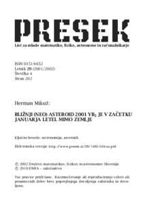 BLIŽNJI (NEO) ASTEROID 2001 YB5 JE V ZAČETKU JANUARJA LETEL MIMO ZEMLJE