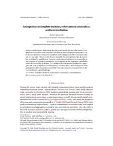 Theoretical Economics), 439–Endogenous incomplete markets, enforcement constraints, and intermediation