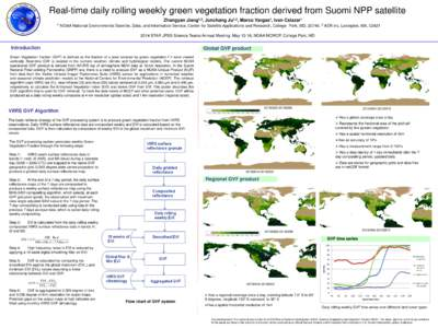 Real-time daily rolling weekly green vegetation fraction derived from Suomi NPP satellite Zhangyan Jiang1,2, Junchang Ju1,2, Marco Vargas1, Ivan Csiszar1 1 NOAA National Environmental Satellite, Data, and Information Ser