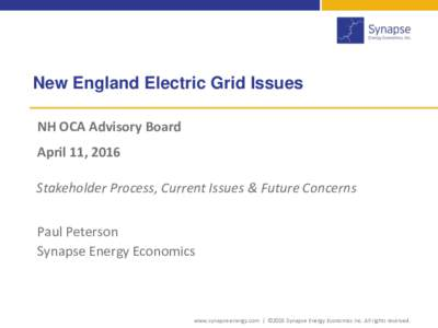 New England Electric Grid Issues NH OCA Advisory Board April 11, 2016 Stakeholder Process, Current Issues & Future Concerns Paul Peterson Synapse Energy Economics