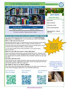 A. M. Al-Refai Library Newsletter  Wednesday, April 11th GULF UNIVERSITY FOR SCIENCE AND TECHNOLOGY