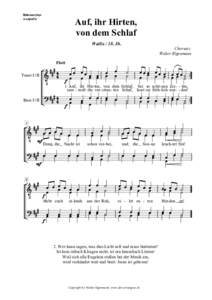 Männerchor a capella Auf, ihr Hirten, von dem Schlaf WallisJh.
