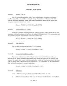 CIVIL PROCEDURE  GENERAL PROVISIONS Section 1.