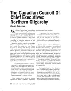 The Canadian Council Of Chief Executives: Northern Oligarchy Morgan Duchesney  W