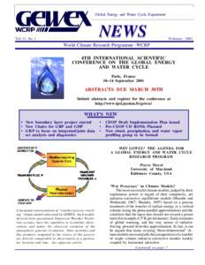 Global Energy and Water Cycle Experiment  NEWS Vol. 11, No. 1