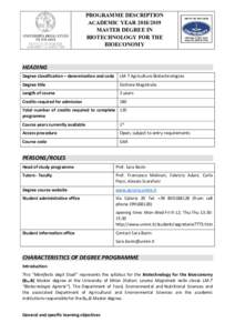 PROGRAMME DESCRIPTION ACADEMIC YEARMASTER DEGREE IN BIOTECHNOLOGY FOR THE BIOECONOMY