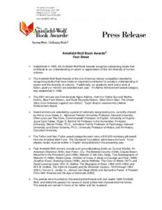 2007 Anisfield-Wolf Book Awards Fact Sheet