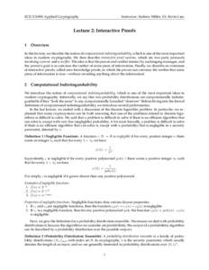 ECE/CS498: Applied Cryptography  Instructor: Andrew Miller, TA: Kevin Liao Lecture 2: Interactive Proofs 1