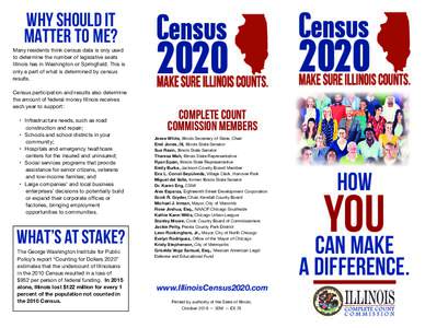 why should iT MATTER TO ME? Many residents think census data is only used to determine the number of legislative seats Illinois has in Washington or Springfield. This is only a part of what is determined by census