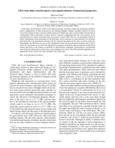 PHYSICAL REVIEW D, VOLUME 70, LISA time-delay interferometry zero-signal solution: Geometrical properties Massimo Tinto* Jet Propulsion Laboratory, California Institute of Technology, Pasadena, California 91109,