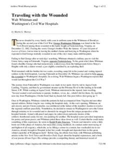 Archive Work\Murray\article  Page 1 of 12 Traveling with the Wounded Walt Whitman and