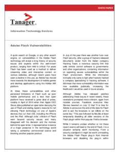 WHITE PAPER  Information Technology Services Adobe Flash Vulnerabilities