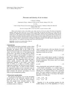 Indian Journal of Radio & Space Physics Vol. 37, February 2008, ppPressure and density of air in mines A Tan & T X Zhang Department of Physics, Alabama A & M University, Normal, Alabama 35762, USA