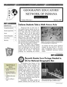 GEOGRAPHY EDUCATORS' NETWORK OF INDIANA NEWSLETTER Volume 109, Issue 3  Indiana Students Take a Walk Across Asia
