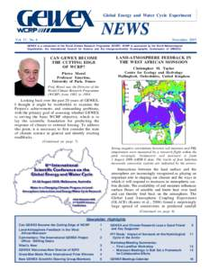 Global Energy and Water Cycle Experiment  NEWS Vol. 17, No. 4