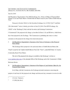 Notice of Filing of Proposed Rule Change to List and Trade Shares of SolidX Bitcoin Shares Issued by the VanEck SolidX Bitcoin Trust
