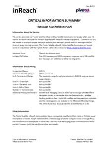 Page 1 of 2  2016_1 CRITICAL INFORMATION SUMMARY INREACH ADVENTURER PLAN