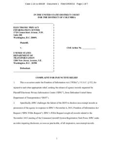 Case 1:16-cvDocument 1 FiledPage 1 of 7  IN THE UNITED STATES DISTRICT COURT FOR THE DISTRICT OF COLUMBIA ____________________________________ )