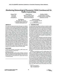 2018 17th ACM/IEEE International Conference on Information Processing in Sensor Networks  Monitoring Meteorological Parameters With Crowdsourced Air Traffic Control Data Roman Trüb