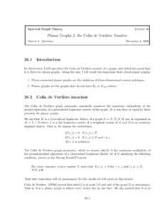 Lecture 26  Spectral Graph Theory Planar Graphs 2, the Colin de Verdi`ere Number December 4, 2009