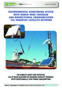 Brochure No: ENVIRONMENTAL MONITORING SYSTEM WITH WORLD-WIDE COVERAGE AND BIDIRECTIONAL COMMUNICATION VIA INMARSAT SATELLITE NETWORK