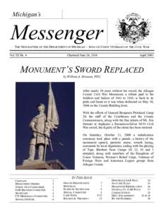 Michigan's  Messenger THE NEWSLETTER OF THE DEPARTMENT OF MICHIGAN ~ SONS OF UNION VETERANS OF THE CIVIL WAR Vol. IX No. 4