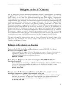 Religion in the 18th Century
