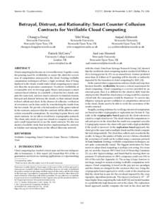 Betrayal, Distrust, and Rationality: Smart Counter-Collusion Contracts for Verifiable Cloud Computing