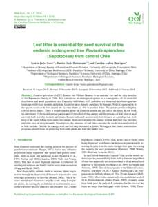 Web Ecol., 18, 1–5, 2018 https://doi.orgwe © Author(sThis work is distributed under the Creative Commons Attribution 4.0 License.  Leaf litter is essential for seed survival of the